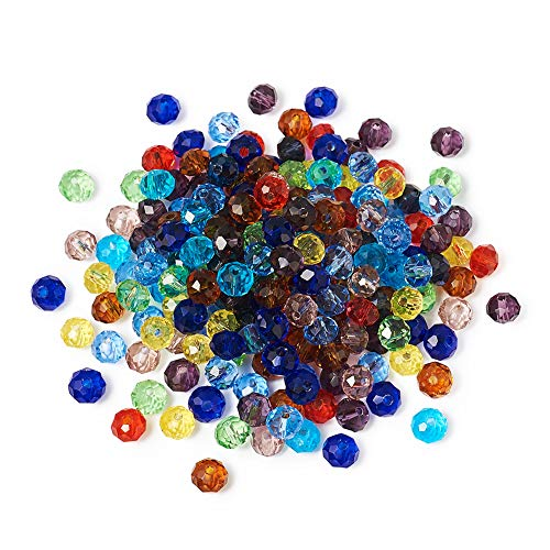 (Craftdady 200Pcs Random Mixed Colors Faceted Crystal Glass Abacus Beads 6x4mm Mini Tiny Rondelle Spacer Loose Beads for DIY Jewelry Craft Making with 1mm Hole)