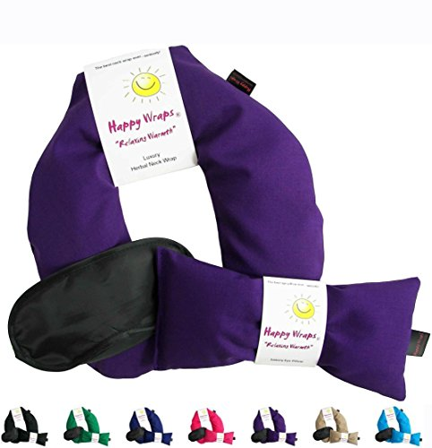 Happy Wraps® Herbal Neck Wrap w/Free Lavender Eye Pillow & Free Sleep Mask - Microwave or Freeze - Purple Cotton (Body Wrap Herbal Heating)