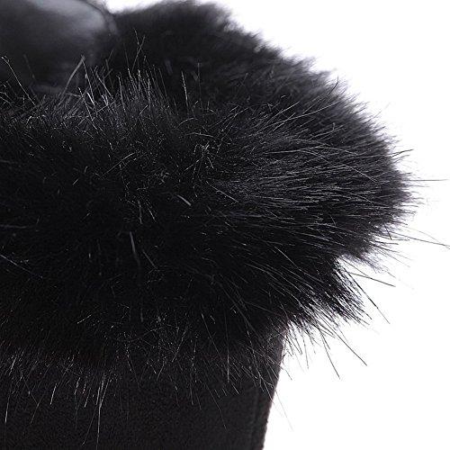 Amoonyfashion Kvinners Rund Lukket Tå Kitten Hæler Syntetiske Faste Støvler Med Metalornament Og Glitter Svart