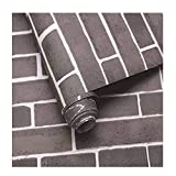 Faux Brick Contact Wallpaper, Grey Color Peel and Stick Removable Self Adhesive Home Bedroom Living Room Bar Wall Decoration Wall Paper 17.7'' x 393.7'' Roll