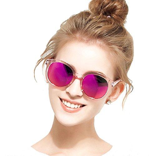 BLUEKIKI YEUX Women Polarized Sunglasses Vintage Oversized Round Mirror(Barbie pink, ()