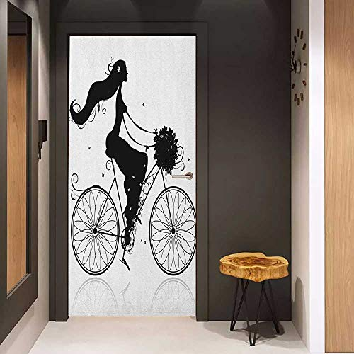 Onefzc Soliciting Sticker for Door Black and White Young Woman Silhouette with a Bouquet of Spring Flowers Cycling Bridal Mural Wallpaper W23.6 x H78.7 Black and White ()
