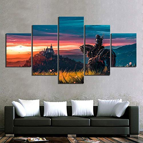 ZLQF Witcher 3 Wild Hunt Picture Wall Art Black and White Game Painting Artwork Canvas Print for Living Room Bedroom Home Decor,A,30502+30702+30801 (Art Canvas Hunt)