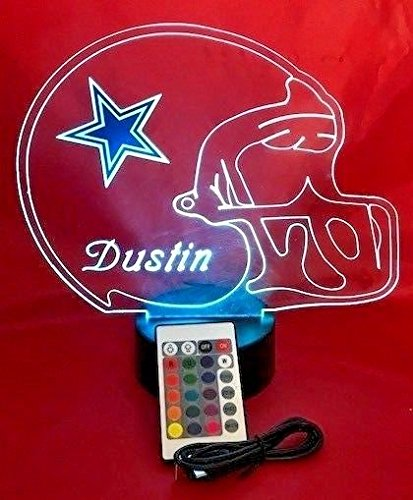 NFL Light Up LED Lamp Personalized Handmade Football Helmet Night Light with Free Personalization and Remote, 16 Color Options, and Variations! (Dallas Cowboys) (Dallas Plus Lamps)