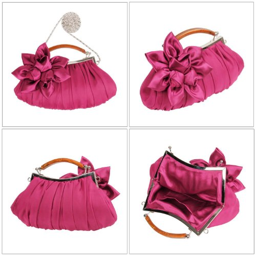 Fuchsia Party evening Clutch Bmc Exterior Floral Embellish Collection Chiffon Sheer Out RqxwPCaF