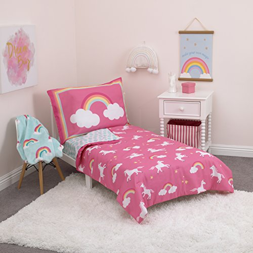 Carter's Rainbow Unicorn 4 Piece Toddler Bedding Set, Pink, Aqua, White