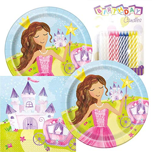 Magical Fairy Princess Party Plates and Napkins Serves 16 With Birthday Candles -