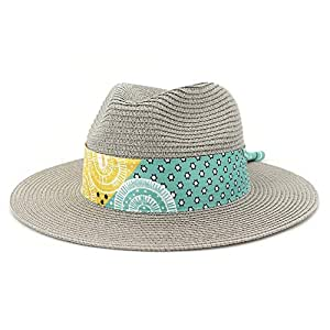 2019 Womens Hats Caps Womens Summer Hat for Women Beach Straw Sun Hat with Flat Wide-Width Chapeu Feminino Striped Floral Satin UV Protection Fedora Fashion Casual Lightweight
