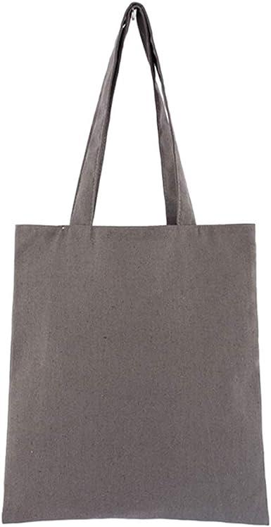 Bolsa de mezcla de algodón natural, suave, ecológica, lisa, bolsa de compras, reutilizable, bolsas de almacenamiento, gris, Talla única: Amazon.es: Ropa y accesorios
