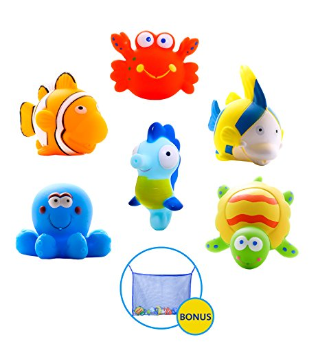 Large Educational Water Squirties Ocean Animals. 6-Pack. Bath Organizer + 2 Pairs Strong Suction Cups With Hooks Included. Fun Bathtub Mildew Resistant Floating Squirter Toys for Baby, Toddlers, Kids.