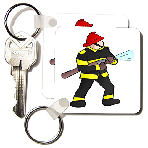 3d Rose 3dRose Fireman In Gear With Firehose - Key Chains...