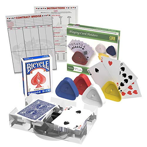 Bridge Card Game Gift Box Set with Authentic USA Made Bicycle Playing Cards, Four Card Holders and Score Pad with Game Instructions by All7s