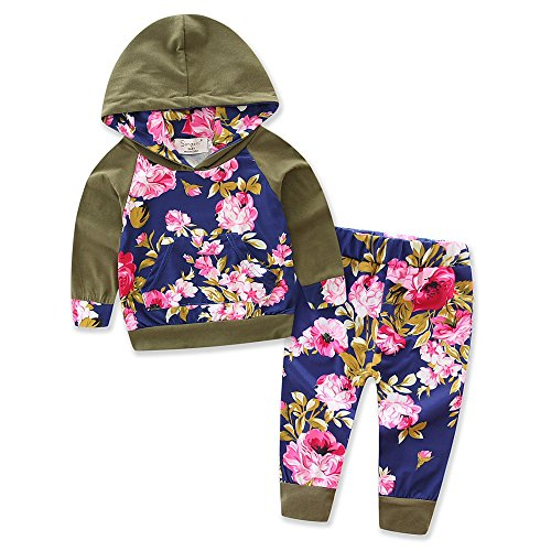 Newborn Kids Baby Boys Handsome Printing Hoodie Tops + Long Pants Outfit Set Girls Clothing Size 0-3Y (Tag:100/2-3Y, Green)