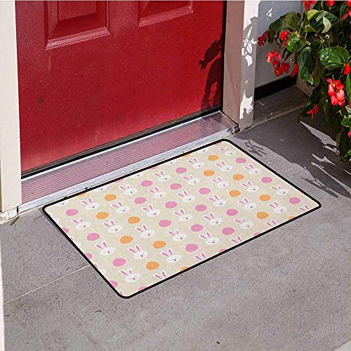 GloriaJohnson Easter Commercial Grade Entrance mat Cartoon Style Childish Pattern with Bunny Faces and Egg Silhouettes for entrances garages patios W29.5 x L39.4 Inch Pale Pink Orange and Beige