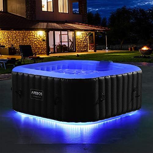 ArebosWhirlpool met ledlichtband vierkant whirlpool opblaasbaar whirlpool outdoor voor 4 personen 130 luchtjets opblaasbaar zwembad