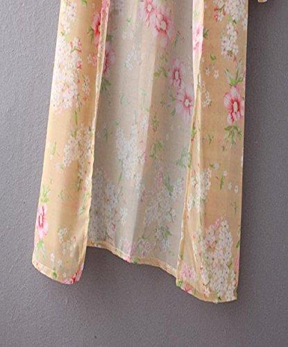vovotrade Mujeres impreso floral de la gasa floja Mantón Cardigan Tops