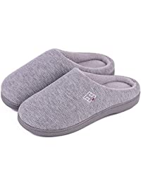 HomeIdeas Women's Classic Memory Foam Plush House Slippers,Spring Summer Breathable Indoor/Outdoor Shoes