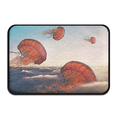 Wash Velvet Curtains - HOMESTORES 17x24 Inch Memory Foam Bath Mat Non Slip Absorbent Super Cozy Velvet Bathroom Entrance Rug Carpet - Jellyfish Nautical Beach Theme Fish In Sky Ocean Animal Print