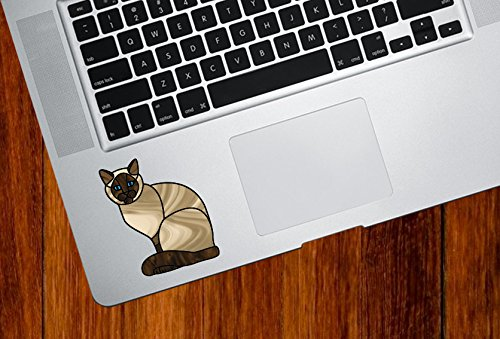 (Siamese Charming Cat Stained Glass Style - Trackpad   Tablet   Computer - Vinyl Decal Sticker © YYDC (2.25