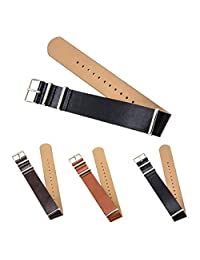 "CIVO Premium Leather NATO Watch Strap Zulu Military Swiss G10 Watch Band 18mm 20mm 22mm Standard & Extra Long (Black, 20mm - Standard (10""))"