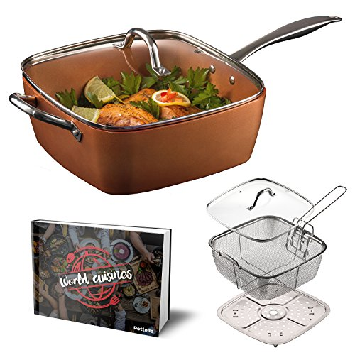 "Non Stick Square Wok - Pottella Deep Square 9.5"" Nonstick Copper Pan Chef 5 Piece Set Frying Basket, Steamer Tray with Bonus World Cuisine Cookbook"