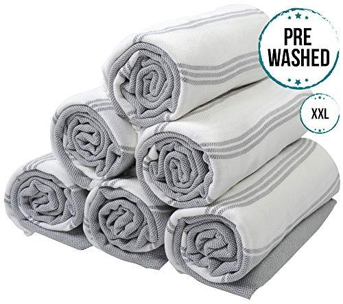(SET of 6) 100% Turkish Cotton Bath Beach Hammam Towel Peshtemal Throw Foua Blanket Set (Grey2) (Monogrammed Beach Turkish Towels)
