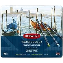 Derwent Colored Pencils, Watercolor, Water Color Pencils, Drawing, Art, Metal Tin, 24 Count (32883)