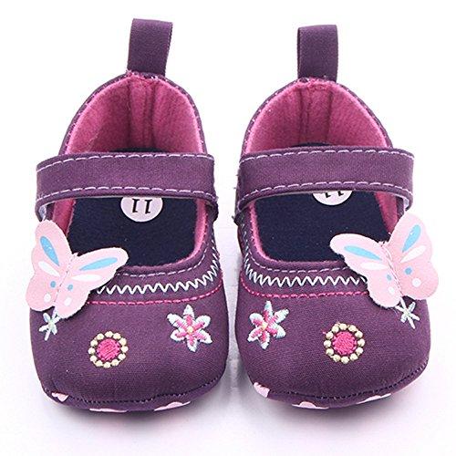 Yulan Baby Mädchen Schmetterling Stickerei Design Schuhe rutschfest (blau, lila) purple12