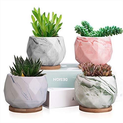 (Succulent Plant Pots Set of 4 Modern Style Marbling Ceramic Flower Pot Succulent Cactus Bonsai Planter Pots Container with Drainage Hole, Bamboo Trays, Perfect Gift Idea (Marbling Container))