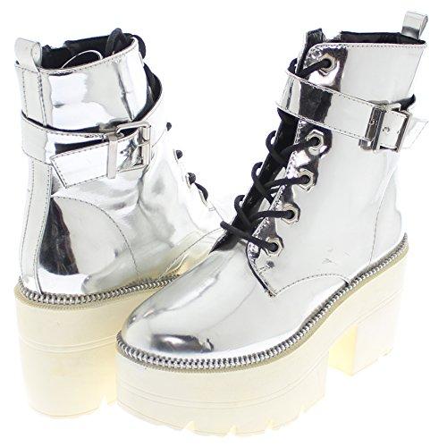 Shoe Republic LA Metallic Reflective Chunky Platform Boots Harrison (Silver 11)