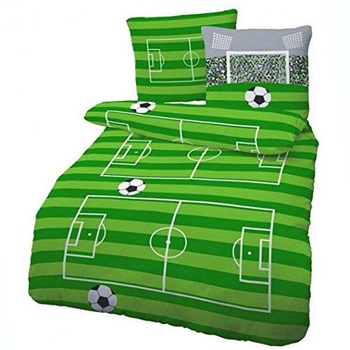Biber Bettwäsche Fußball Spielfeld Grün 135x200 cm - Kinderbettwäsche