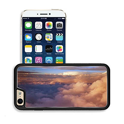 Luxlady Premium Apple iPhone 6 iPhone 6S Aluminum Backplate Bumper Snap Case IMAGE ID: 34823758 view colored clouds from an airplane at dawn
