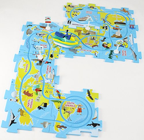 (Puzzle Track Play Set - Battery-Operated Toy Vehicle & Floor Puzzle Play Mat - 16 Pc Sets - Jet Ski Themed Vehicle - Interchangeable Tracks - Create Up To 50 Combinations - by Ideas In Life)