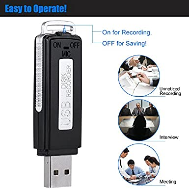 Amazon.com: aibecy 8 GB Portable USB Disco Grabadora de voz ...