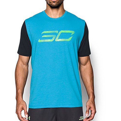 Under Armour Men's SC30 Logo T-Shirt, Blue Shift (929)/Quirky Lime, Small