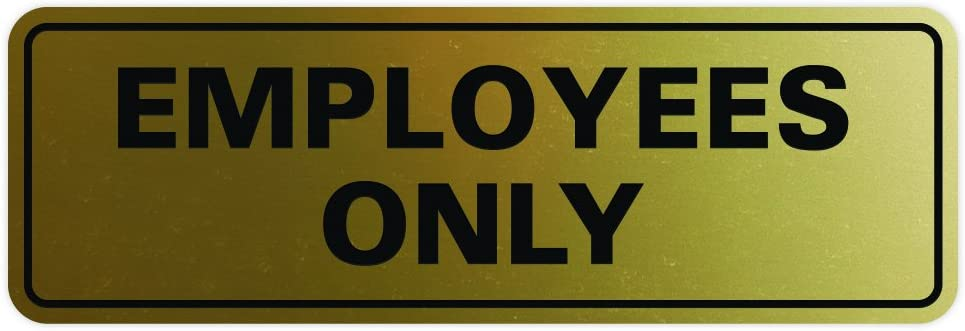 Medium All Quality Standard Staff Only Sign Brushed Gold