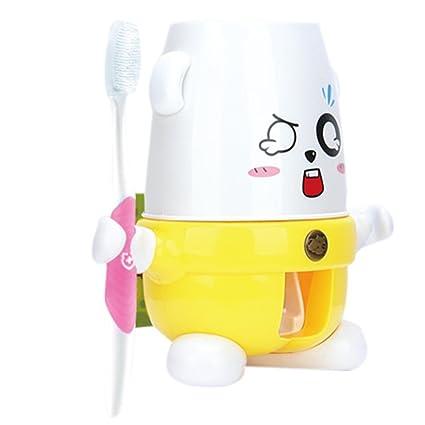 iikids Oso de dibujos animados creativa Pasta de dientes automático dispensador Exprimidor Con cepillo de dientes