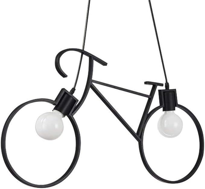 Creativa de la lámpara colgante de la bicicleta retro niño creativo hierro lámpara de la sala de estar colgantes para lámparas de techo simple Restaurante Bar Cocina Industrial lámparas colgantes E27,Negro: Amazon.es: