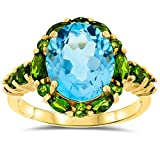 10k Yellow Gold, Oval shape natural Genuine Blue Topaz and Chome Diopside Gemstone Ring, Birthstone of December