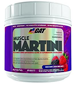 GAT Muscle Martini, The Ultimate Amino Super Drink with 30 Fruit and Vegetable Extracts, Mixed Berry Candy, 360 Gram