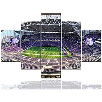 Framed Sports Art NFL Minnesota Vikings Pictures US Bank Stadium Paintings 5 Pcs/Multi Panel Canvas Wall Modern Artwork Home Decor for Living Room Giclee Ready to Hang Posters and Prints(60''Wx40''H)