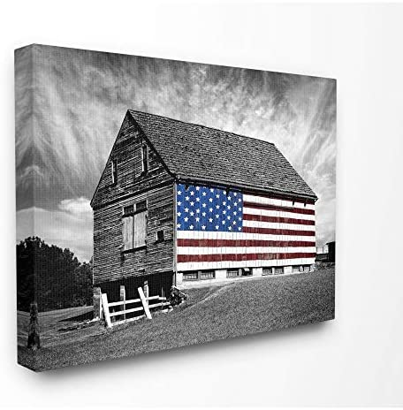 Stupell Industries Black and White Farmhouse Barn American Flag Canvas Wall Art, 24 x 30, Multi-Color