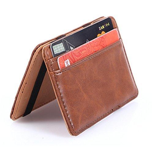Kamoku101 Portafogli uomo, pelle stile clip commercio soldi magia caso sottile del mens supporto di identificazione del raccoglitore della carta di credito (Marrone chiaro)