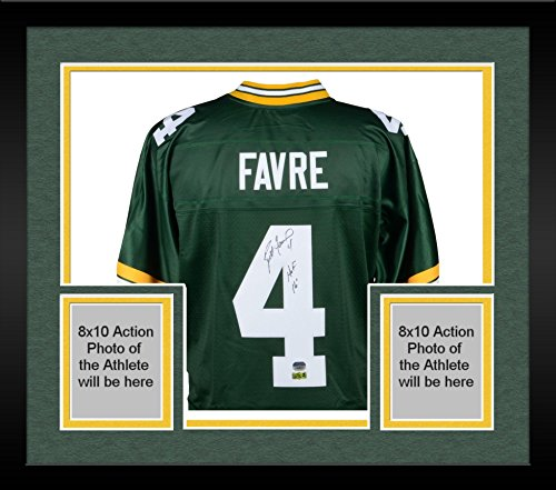 Framed Brett Favre Green Bay Packers Autographed Green Pro-Line Jersey with