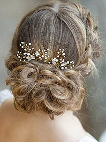 Bridalvenus Gold Bridal Hair Pins Set, Wedding Flower Hair Pin for Women and Girls (Set of 2) (Hair Pin Gold)