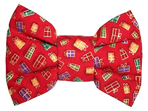 Designer Duds for Dogs Calvin K-Nine Holiday Bowtie with Christmas Presents, X-Small
