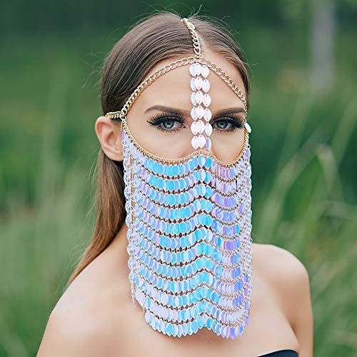 CCbodily Masquerade Mask Chain for Women - Venetian Halloween Mardi Gras Masquerade Mask Ball Face Chain Jewelry for Women Nightclub Party (Pearl 01)]()