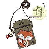 Chala Crossbody Cell Phone Purse - Women PU Leather Multicolor Handbag with Adjustable Strap - Fox - Olive
