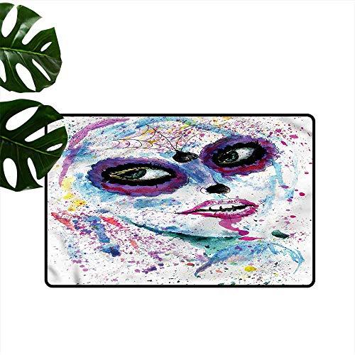 HOMEDD Bath mat,Girls Halloween Lady Make Up,Easy Clean Rugs,35