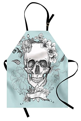 Ambesonne Grunge Apron, Skull and Flowers Day of The Dead Mexican Traditional Celebration Symbolic Art, Unisex Kitchen Bib Apron with Adjustable Neck for Cooking Baking Gardening, Turquoise White